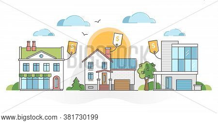 Real Estate Houses For Sale And Property Purchase Possibility Outline Concept. Buy New Home Collecti