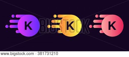 Abstract Letter K Logo Design With Creative Modern Trendy. K Letter Design Vector With Dots And Colo