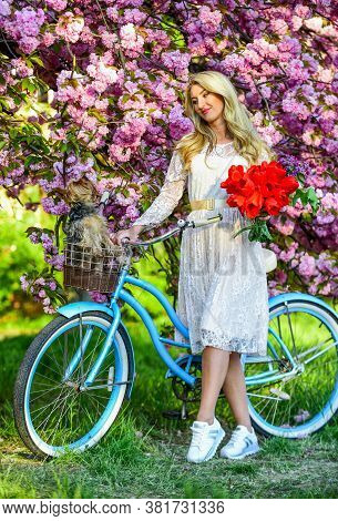 In Great Mood. Natural Female Beauty. Woman In Garden. Young Fashionable Girl With Retro Bike Near C