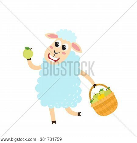 Farmer Sheep Holding Basket With Apples Isolated On White.