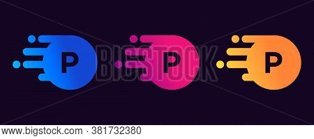 Creative P Letter Logo Design With Creative Modern Trendy. P Letter Design Vector With Dots And Colo