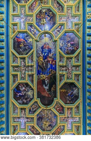 Details Of Ornate Ceiling Frescoes Of Our Lady Of The Rocks Church On A Man-made Island In The Famou