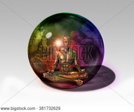 Cyborg in sphere. 3D rendering