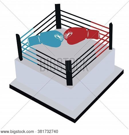 Vector Stock Illustration Of A Boxing Ring In Isometry. Sparring, Competitions. Sports, Martial Arts