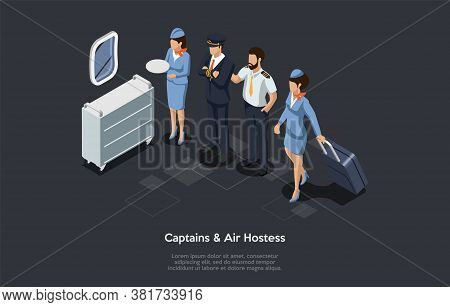Aircrew, Captains And Flight Attendants Concept. Air Hostess, Captain And Pilot On A Board Of An Air