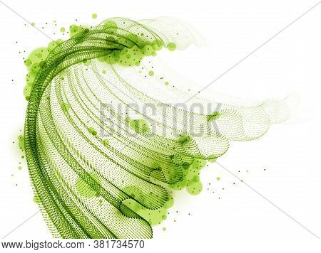 Wave Of Flowing Particles Abstract Vector Background, Smooth Curvy Shape Dots Transparent Tulle Text