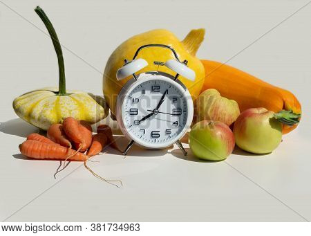 Set Of Pumpkin Family Vegetables, Carrot And Apple On Light Background. Healthy Eating Food. Ingredi