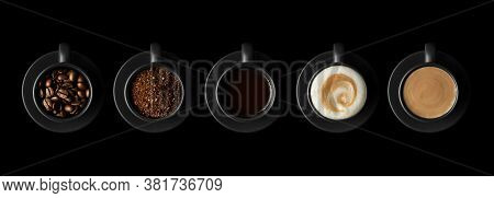 Five Black Cups With Coffee And Saucers On Black Background. Coffee Beans, Ground Coffee, Espresso,