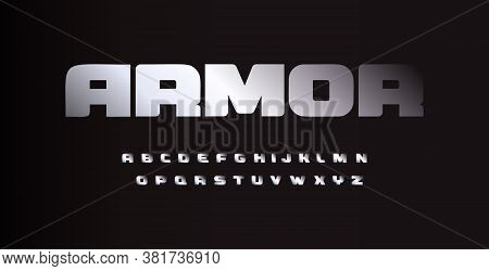 Metal Bold Austere Font, Letters With Chrome Or Aluminum Metallic Texture. Vector Typography.