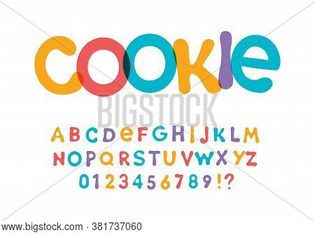 Color Font For Bright Packaging Design For Cookies, Snacks And Sweets. Children Font For Kids Holida