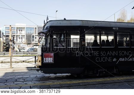 Milan, Italy - March 21, 2019: Famous Vintage Tram In The Centre Of The Old Town Of Milan In The Sun