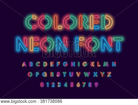 Colored Neon Font, Colorful Outlines Letter And Numbers Set With Neon Colored Glow On Black Backgrou