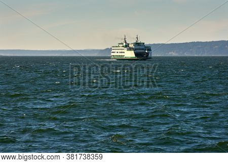 Washington State Ferry Puget Sound. A Washington State Ferry On Puget Sound. Washington State.