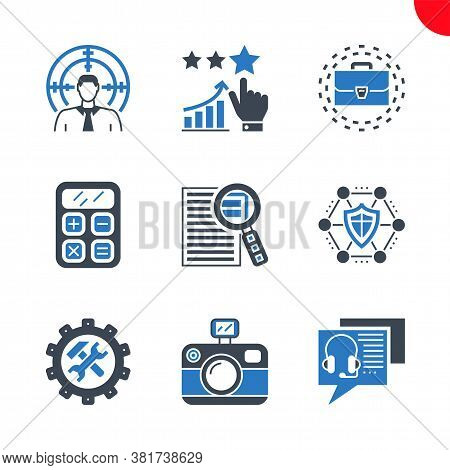 Seo Related Vector Glyph Icons Set. Online Consulting, Target Audience, Photo Presentation, Support,