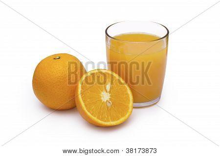 Orange Juice in glass on white background