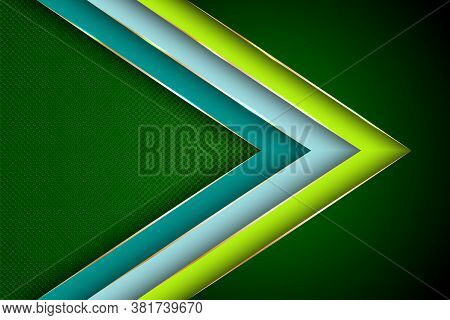 Polygonal Arrow With Gold Triangle Edge Lines Banner Vector Design. Glossy Banner Background Templat