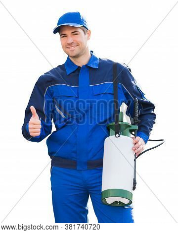 Pest Control Exterminator Man Worker Isolated On White
