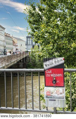 Graz, Austria. August 2020. Sale Of The Wiener Zeitung Newspaper In The Street On A Pole