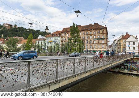 Graz, Austria. August 2020.  The Locks Left By Lovers On The Erzherzog-johann Bridge