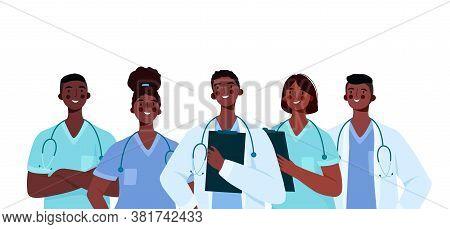 Set Of Black Doctors Characters. Medical Team Concept In Vector Illustration Design. Medical Staff D