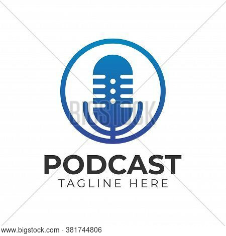 The Microphone Icon In A Fashionable Flat Style Is Isolated Against The Background. Logo, Applicatio