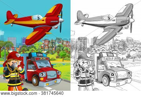 Cartoon Sketch Scene With Fire Brigade Car Vehicle On The Road