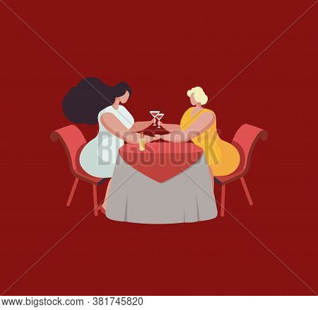 Two Girls At A Table In A Cafe With Wine Glasses. Valentines Day. Love Of Two Lesbian Women. Vector