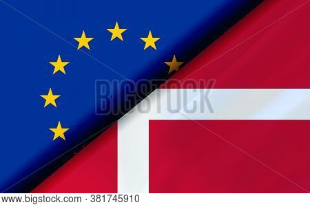 Flags Of The Eu And Denmark Divided Diagonally. 3d Rendering