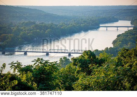 Scenic View Of Delaware River Bridges From Goat Hill Overlook