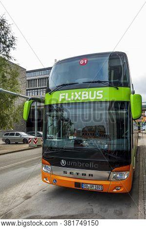 Copenhagen, Denmark - Oct 18, 2018: Close View Of A Public Bus Parked Along Kristian Erslevs Gade, B