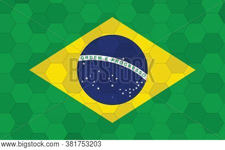 Brazil Flag Illustration. Futuristic Brazilian Flag Graphic With Abstract Hexagon Background Vector.