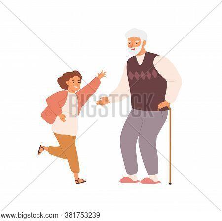 Joyful Little Girl And Grandfather Having Fun Together Vector Flat Illustration. Happy Grandchild Ru