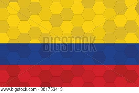 Colombia Flag Illustration. Futuristic Colombian Flag Graphic With Abstract Hexagon Background Vecto