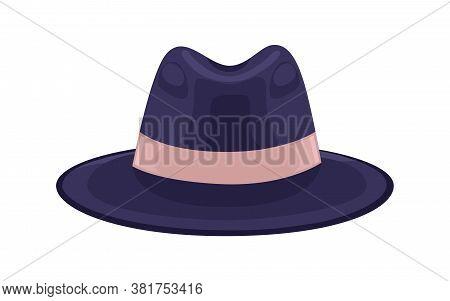 Black Stylish Headdress Decorated With Ribbon Vector Flat Illustration. Classic Men S Brimmed Felt H