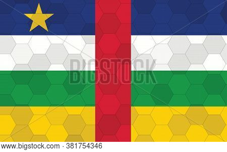 Central African Republic Flag Illustration. Futuristic Central African Flag Graphic With Abstract He