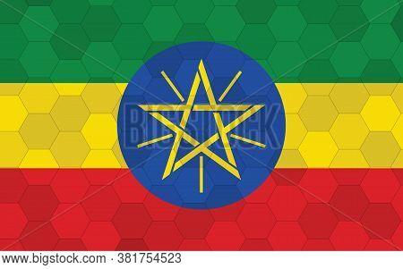 Ethiopia Flag Illustration. Futuristic Ethiopian Flag Graphic With Abstract Hexagon Background Vecto