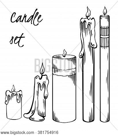 Set Of Relax Candles. Black And White Sketch With Hatching. Various Wax Candles. Vector Engraving Sp