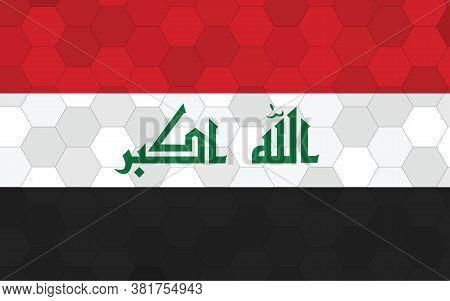 Iraq Flag Illustration. Futuristic Iraqi Flag Graphic With Abstract Hexagon Background Vector. Iraq