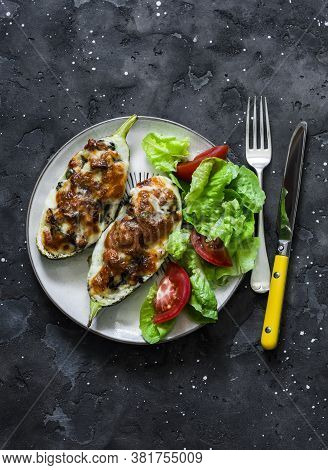 Chicken Breast, Spinach, Mushrooms, Mozzarella Cheese Stuffed Roasted Zucchini And Fresh Vegetable S