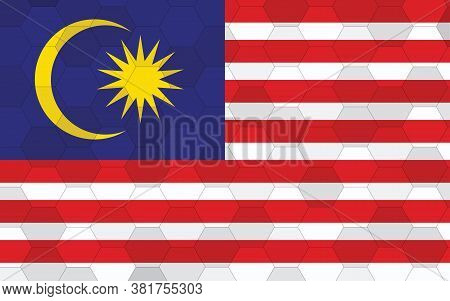 Malaysia Flag Illustration. Futuristic Malaysian Flag Graphic With Abstract Hexagon Background Vecto