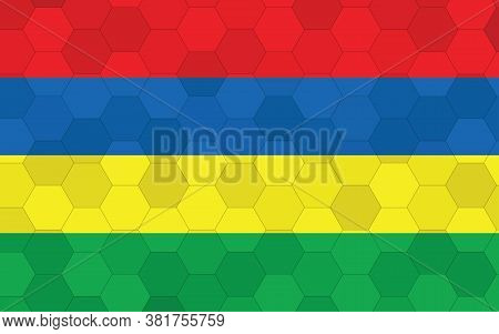 Mauritius Flag Illustration. Futuristic Mauritian Flag Graphic With Abstract Hexagon Background Vect