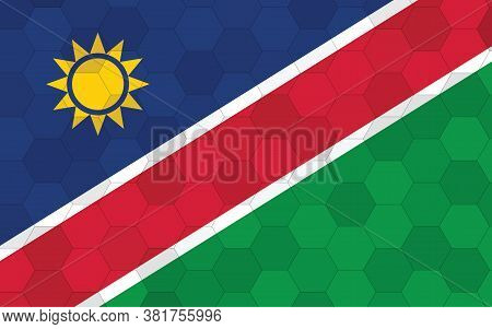 Namibia Flag Illustration. Futuristic Namibian Flag Graphic With Abstract Hexagon Background Vector.