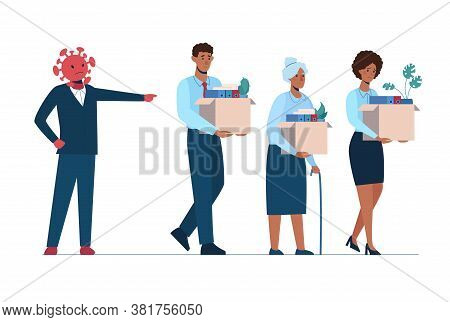 The Coronavirus Leaves People Unemployed. A Fired African Man And Women Leave The Office With A Box