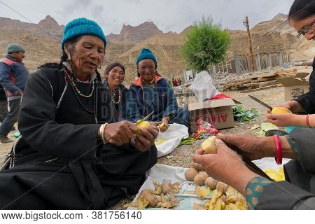 Mulbekh, Ladakh, India - 2nd September 2014 : Happy Ladakhi Tribal Women In Traditional Dresses Are