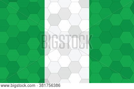 Nigeria Flag Illustration. Futuristic Nigerian Flag Graphic With Abstract Hexagon Background Vector.