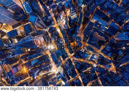Central, Hong Kong 30 July 2020: Top view of Hong Kong city at night