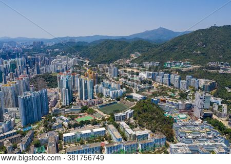 Kowloon Tong, Hong Kong 12 April 2020: Top view of Hong Kong city