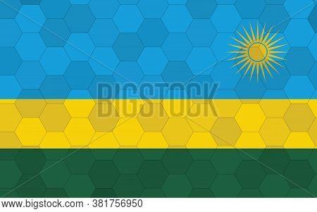 Rwanda Flag Illustration. Futuristic Rwandan Flag Graphic With Abstract Hexagon Background Vector. R