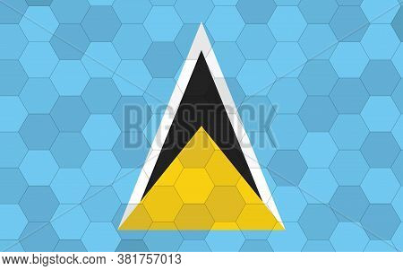 Saint Lucia Flag Illustration. Futuristic Saint Lucian Flag Graphic With Abstract Hexagon Background