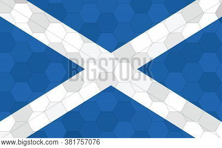 Scotland Flag Illustration. Futuristic Scottish Flag Graphic With Abstract Hexagon Background Vector